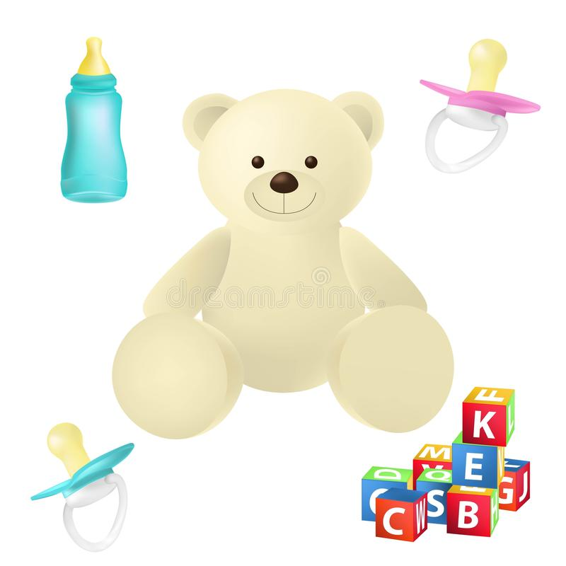 Baby toys and things detailed icons vector set. Pacified, cubs, baby bottle, teddy bear Isolated on white background stock illustration