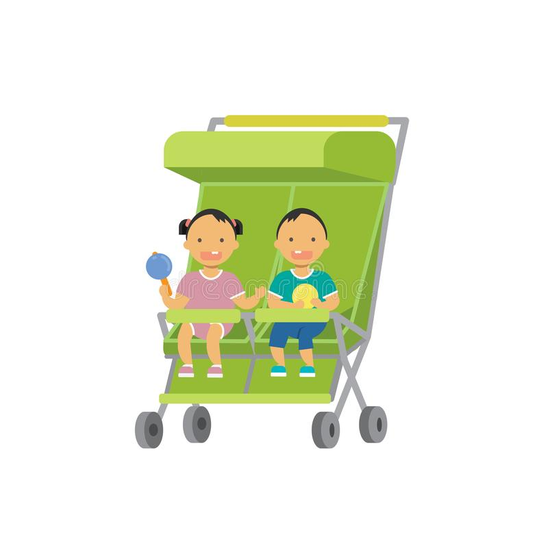 Baby with toys twins double stroller full length avatar on white background, successful family concept, flat cartoon. Vector illustration stock illustration