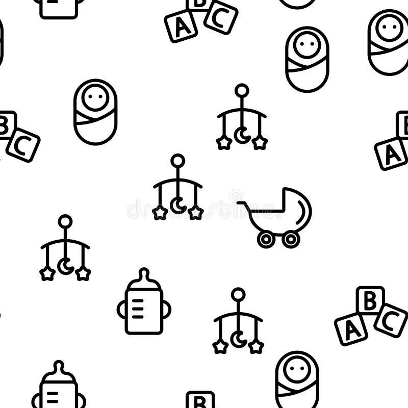 Baby Toys Vector Seamless Pattern. Thin Line Illustration vector illustration