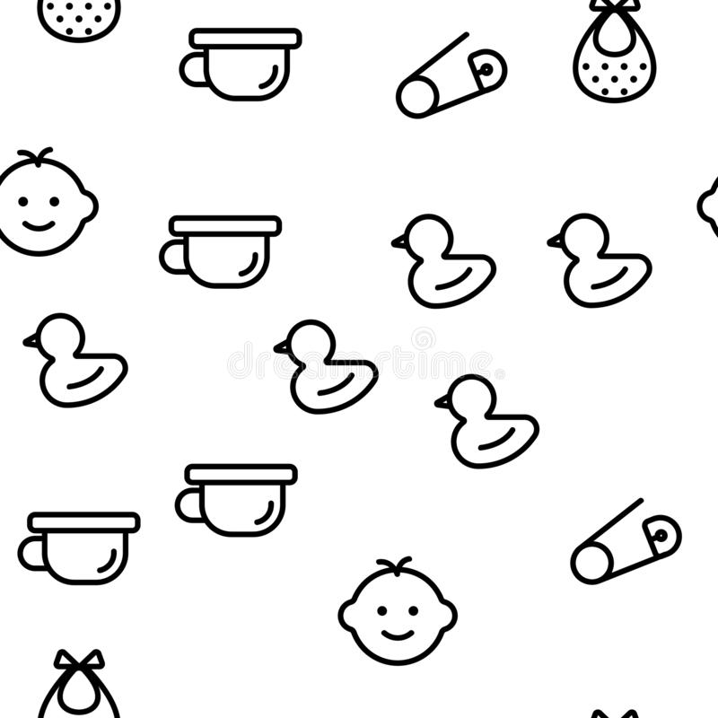 Baby Toys Vector Seamless Pattern. Thin Line Illustration royalty free illustration