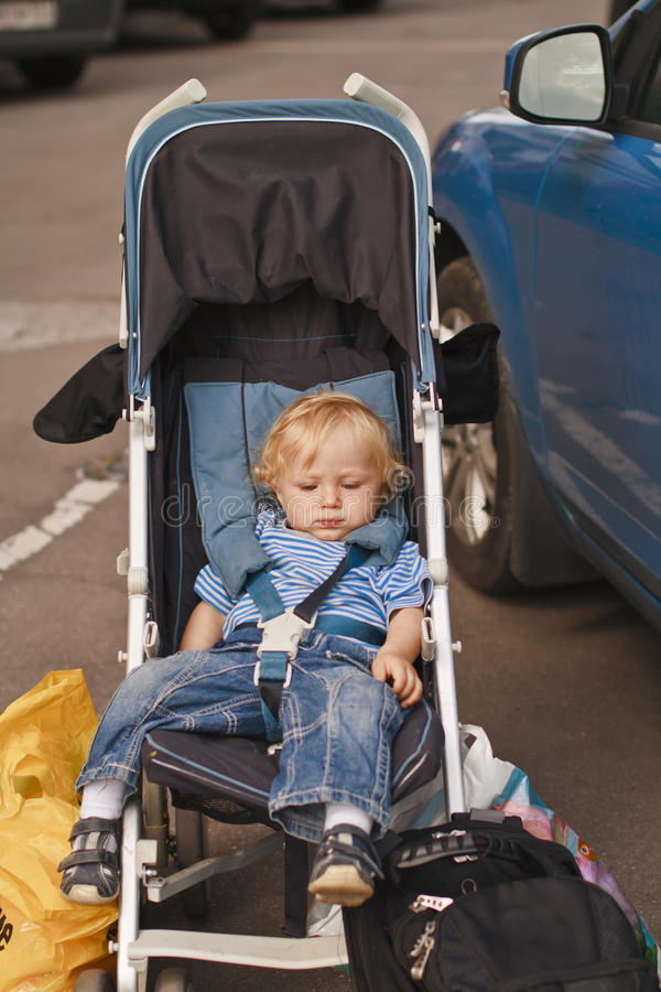 Baby travel by car royalty free stock image