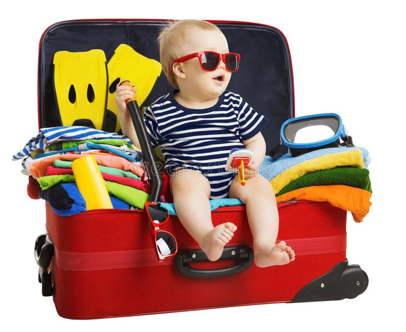 Baby Travel Suitcase, Child Sitting in Traveling Bag, Kid on White stock photos