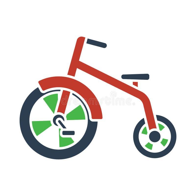 Baby trike icon. Flat color design. Vector illustration royalty free illustration
