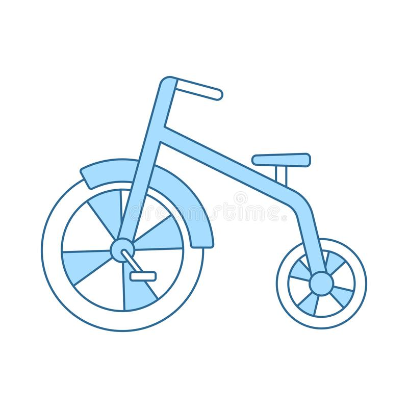 Baby Trike Icon. Thin Line With Blue Fill Design. Vector Illustration stock illustration