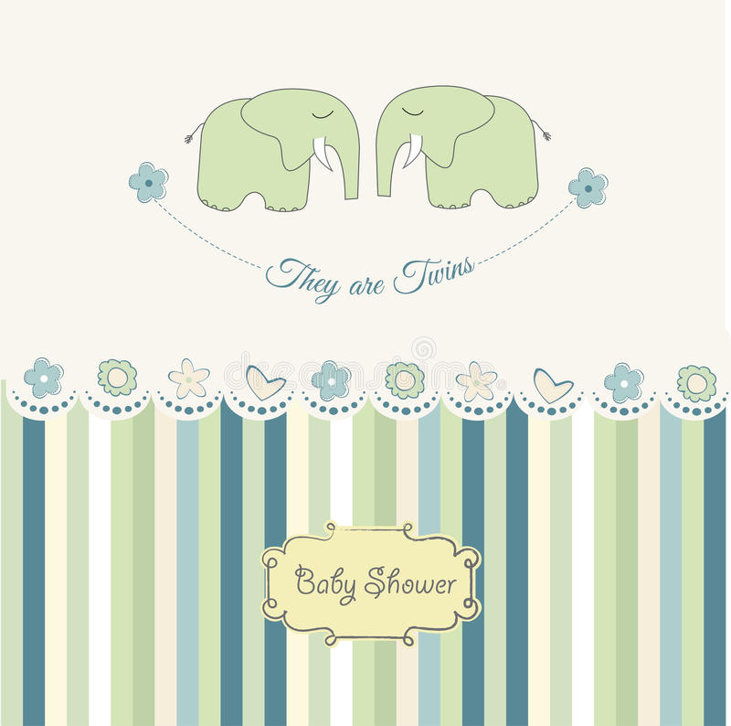 Baby twins shower card. With elephant in format vector illustration