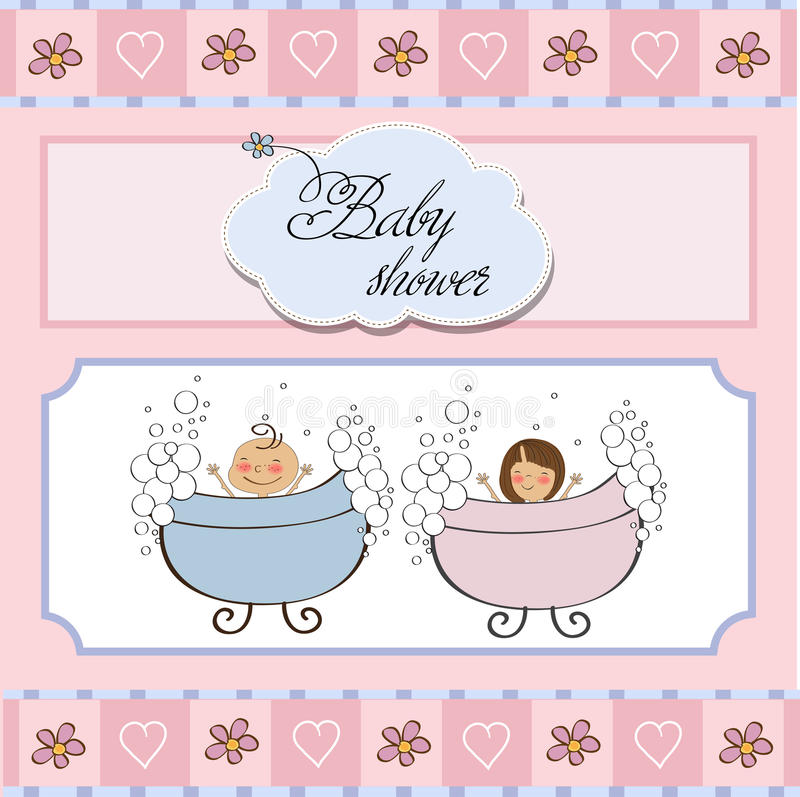 Download Baby twins shower card stock vector. Image of little - 23755867