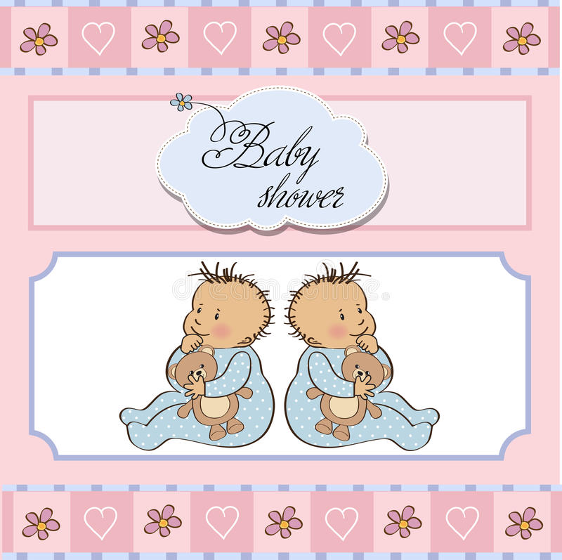 Download Baby twins shower card stock vector. Illustration of concept - 23755874