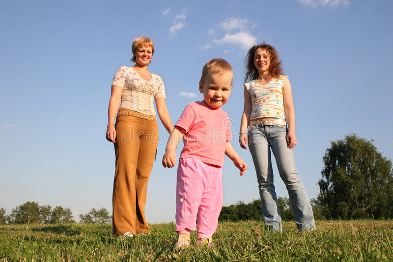 Download Baby with two girls stock photo. Image of light, field - 962456