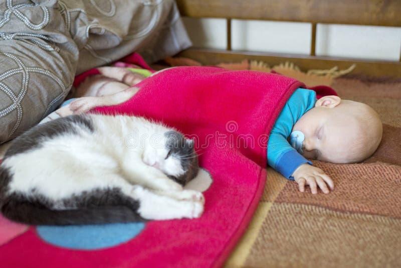 Baby- und Katzenschlaf zusammen im Bett lizenzfreie stockfotos