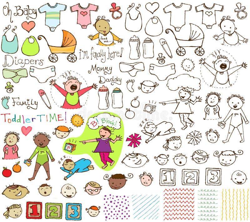 Baby-und Kleinkind-Hand gezeichnete Sammlung stockfotos