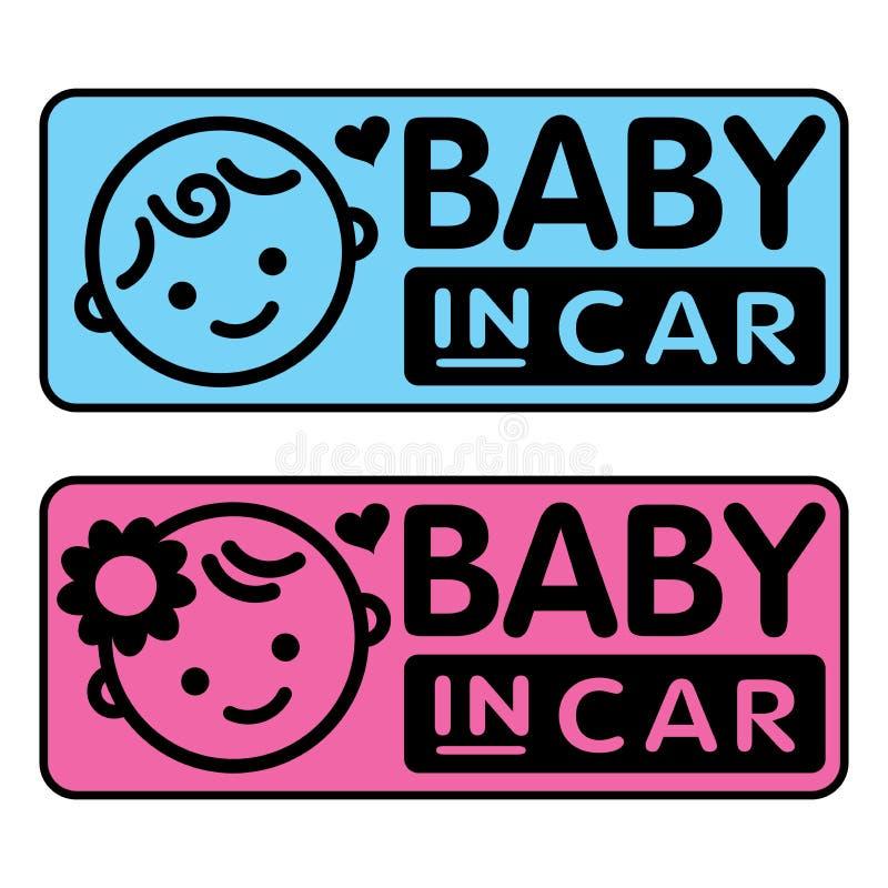 Baby und Mädchen, Baby im Autoaufkleber stock abbildung