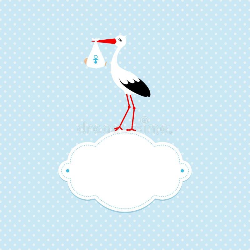 Baby und Storch auf Wolke Dots Background Blue lizenzfreie abbildung