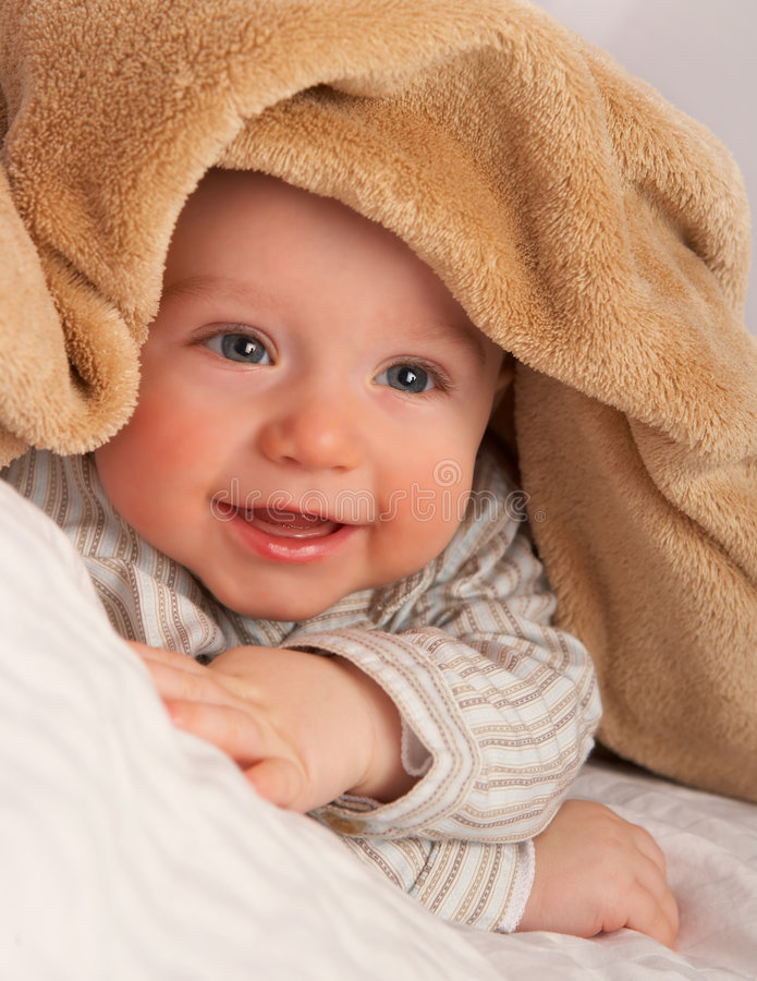 Download Baby under blanket stock photo. Image of happiness, smile - 7746878