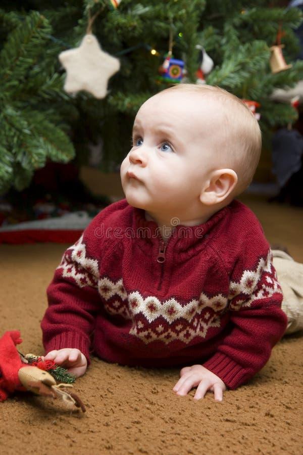 Baby under Christmas Tree royalty free stock photos