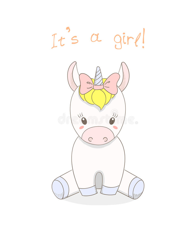 Download Baby Unicorn Girl Stock Vector Illustration Of Beautiful