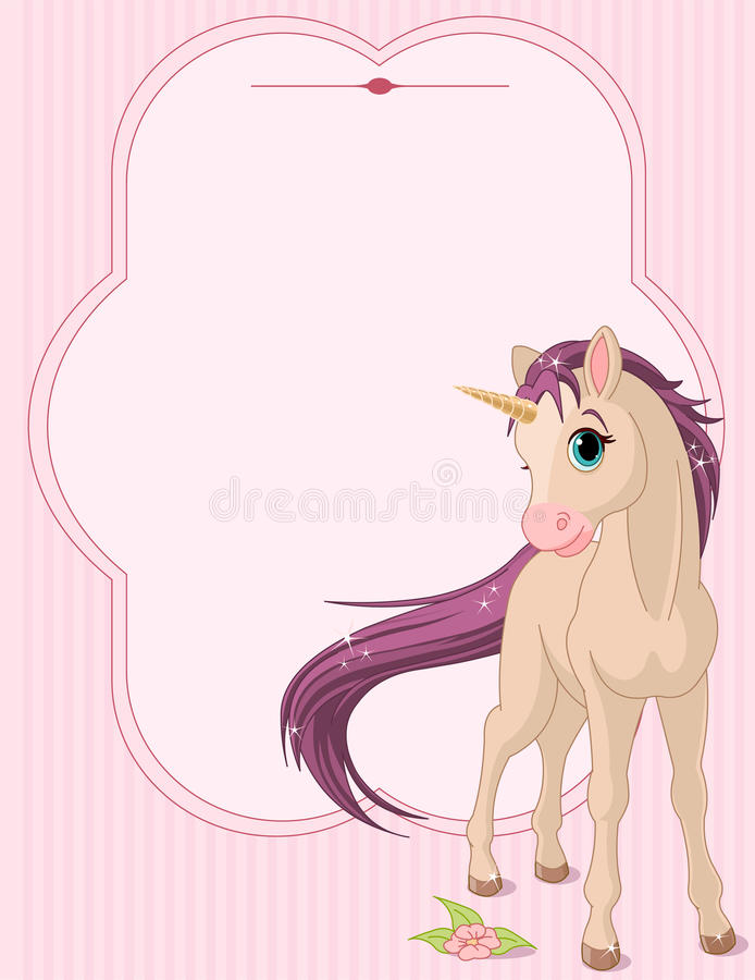 Free Baby Unicorn Place Card Stock Images - 18744004
