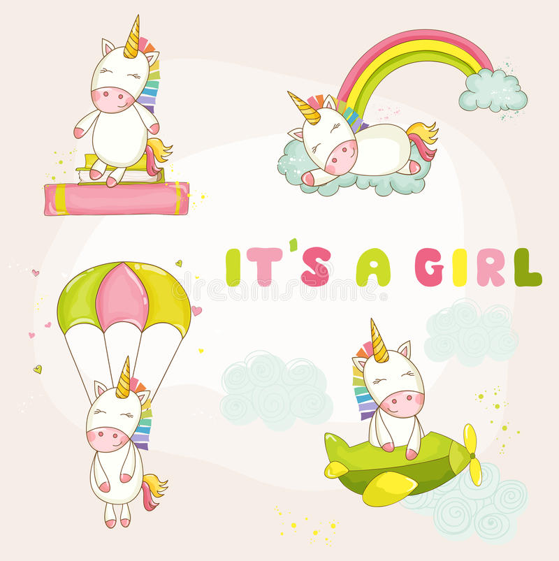 Baby Unicorn Set - Babydouche of Aankomstkaart royalty-vrije illustratie