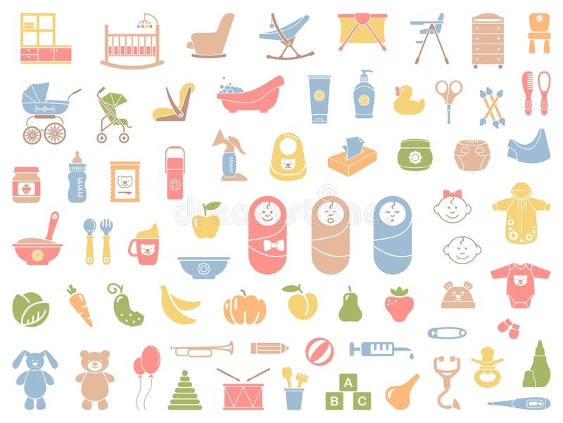 Baby vector icons set royalty free illustration