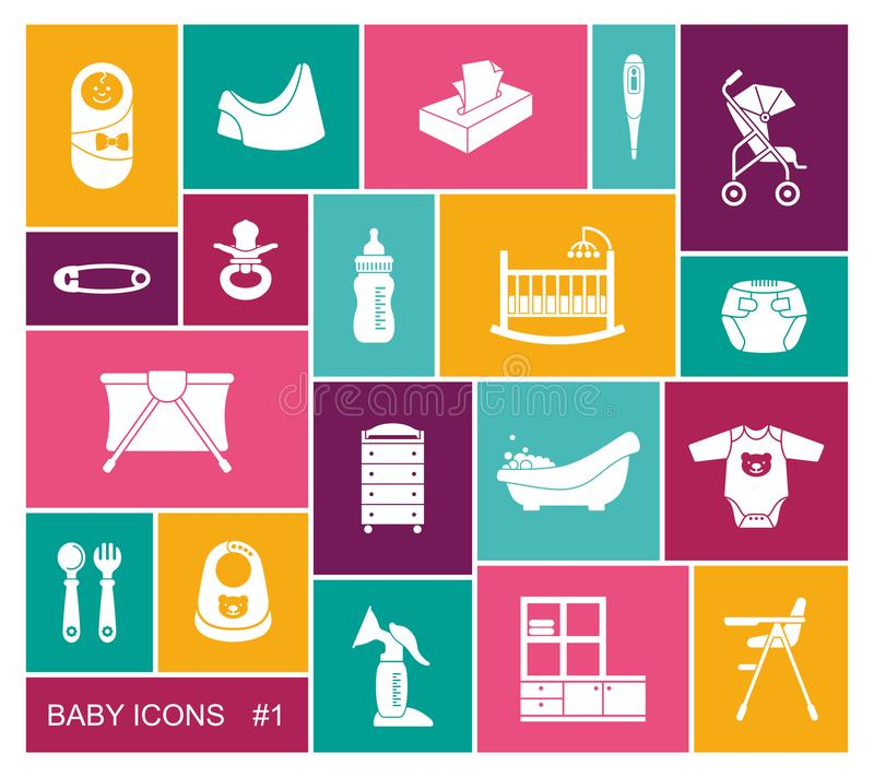Baby vector icons set in flat style royalty free illustration