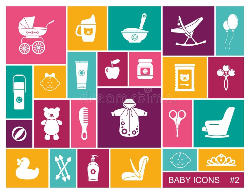 Baby vector icons set set in flat style stock illustration
