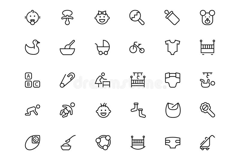 Baby Vector Line Icons 1. You'll love this adorable new Baby Vector Icon Pack. Here is a cute set of baby accessories for all your cute baby cards, baby showers stock illustration