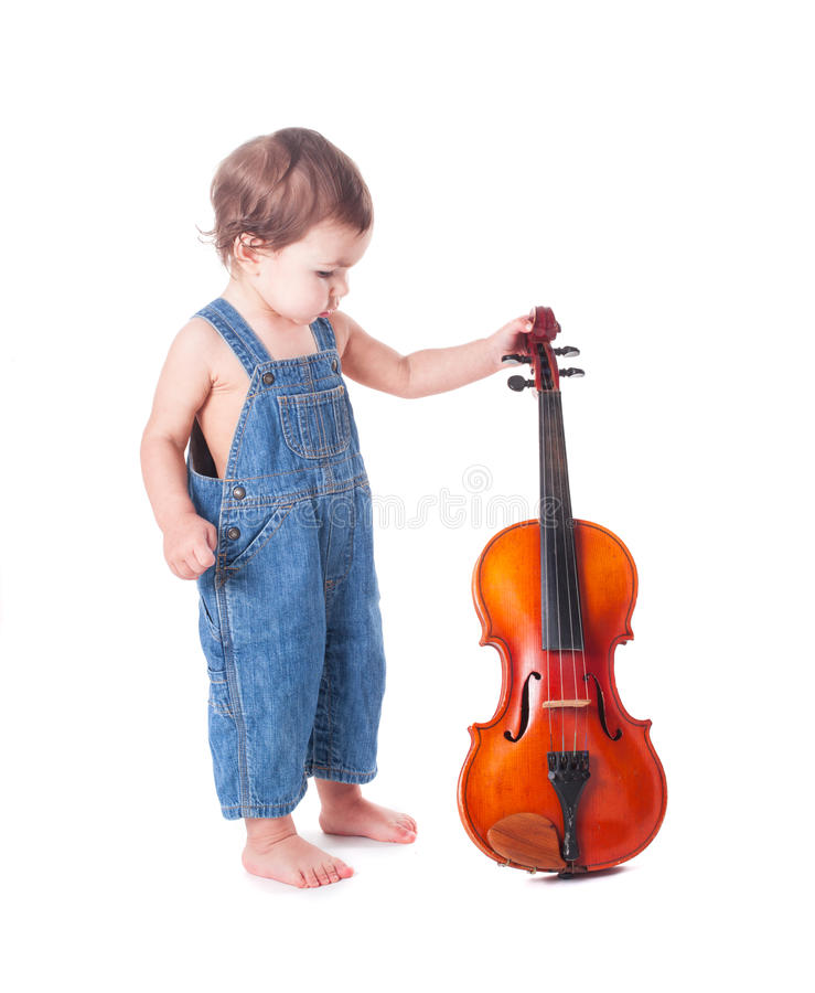 Baby and violin. Isolated on white. Choosing future profession royalty free stock images