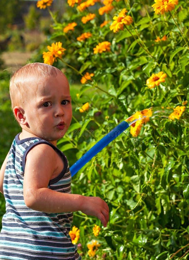 Baby wässert die Blumen lizenzfreie stockbilder