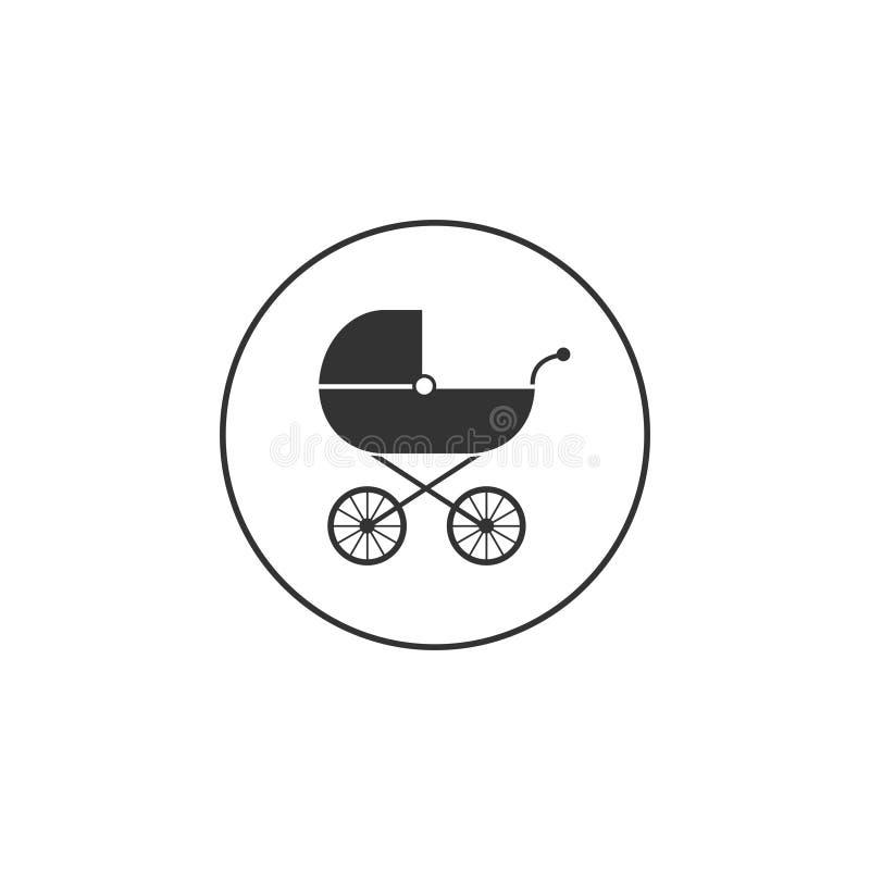 Baby, Wagen, Buggy, Pram, Spaziergänger, Radikone Vektorillustration, flaches Design stock abbildung