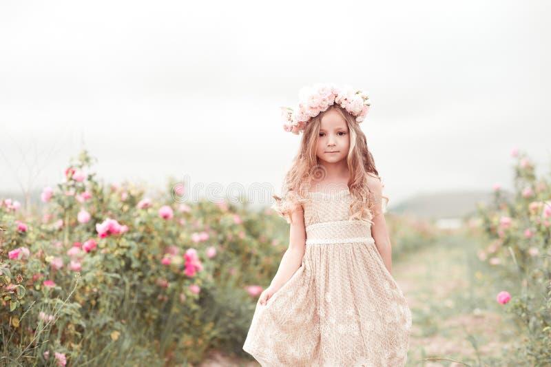 Baby walkig im Rosengarten stockfoto