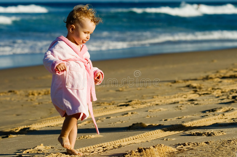 Download Baby walking on the beach stock image. Image of eyes, walk - 2844927