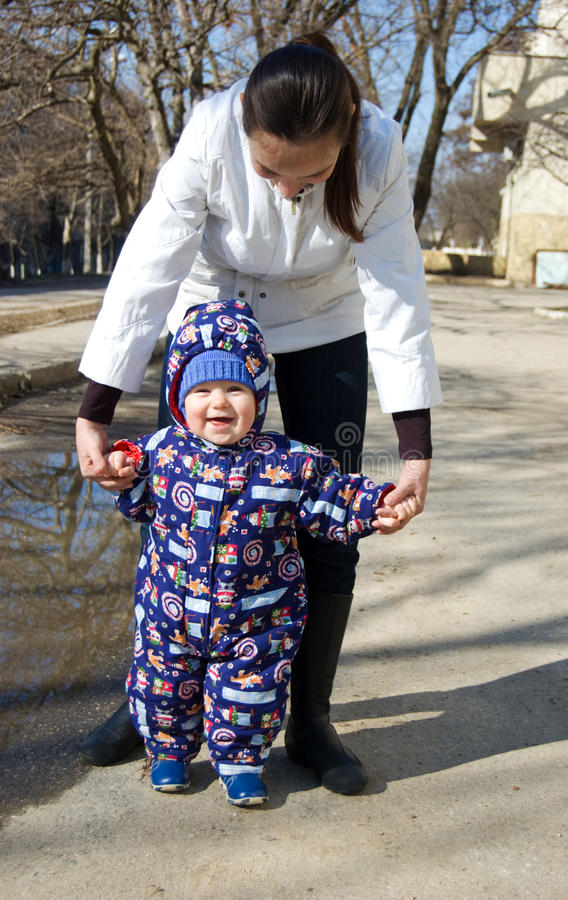 Download Baby Walking His First Steps Stock Image - Image: 13203177