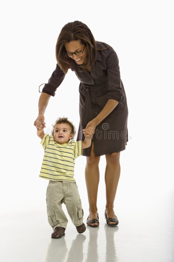 Free Baby Walking With Mom. Royalty Free Stock Image - 3422726