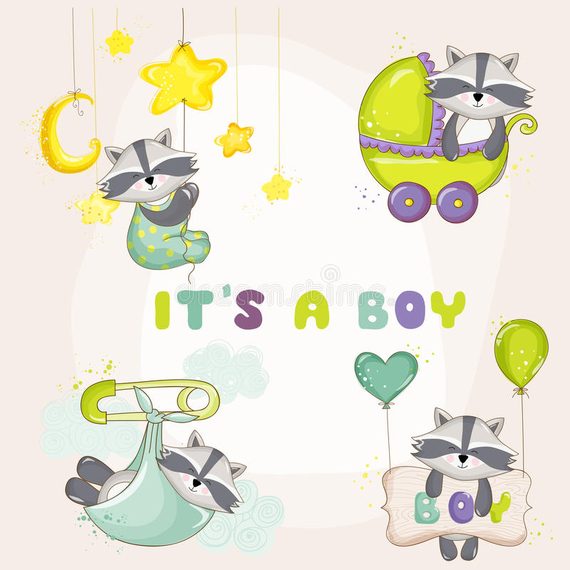 Baby-Waschbär eingestellt - für Babyparty-oder Baby-Ankunfts-Karten stock abbildung
