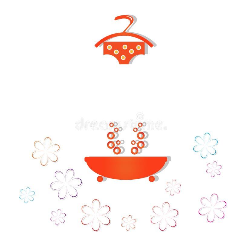 Baby wash. Baby orange bath, laundry, cleanliness royalty free illustration
