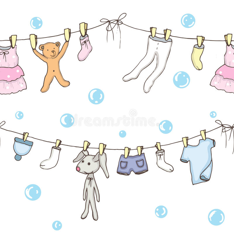 Baby washed background. Seamless backgroung of washed baby clothes in royalty free illustration
