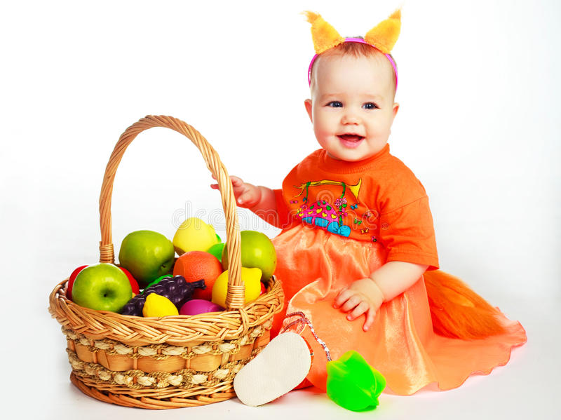 Download Baby Wearing A Costume Of A Squirrel Stock Image - Image of joyful, nutrition: 12455763