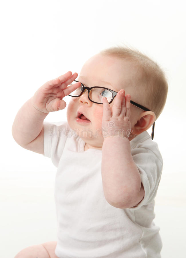 Baby wearing eyeglasses royalty free stock photo