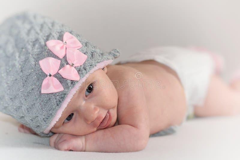 Baby wearing wool cap