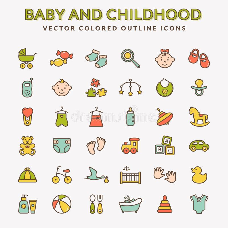 Baby colored outline icons. Vector set. stock illustration