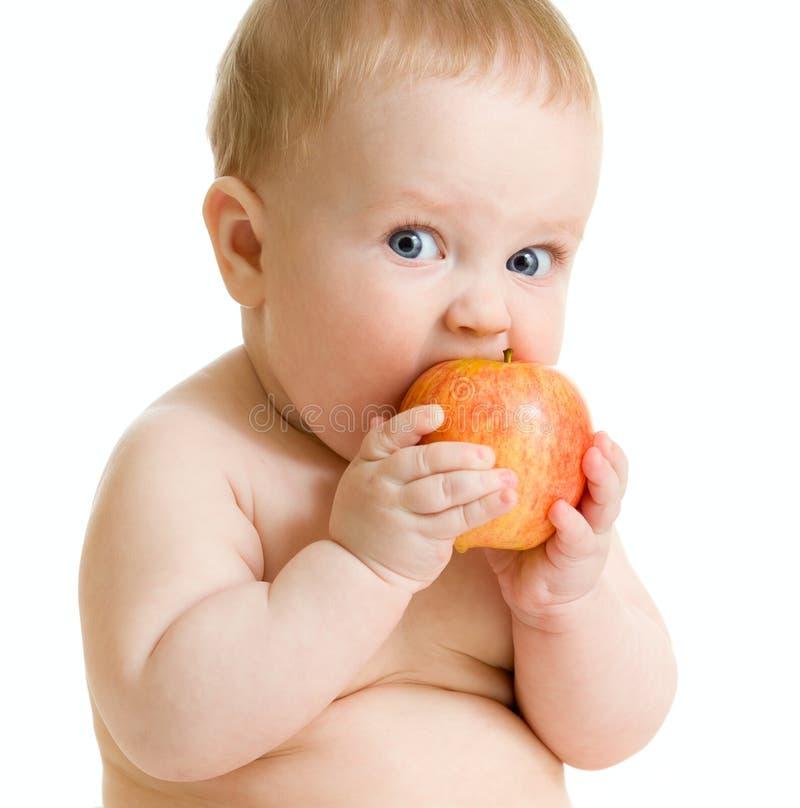 Baby, welches die gesunde Nahrung getrennt isst lizenzfreies stockfoto