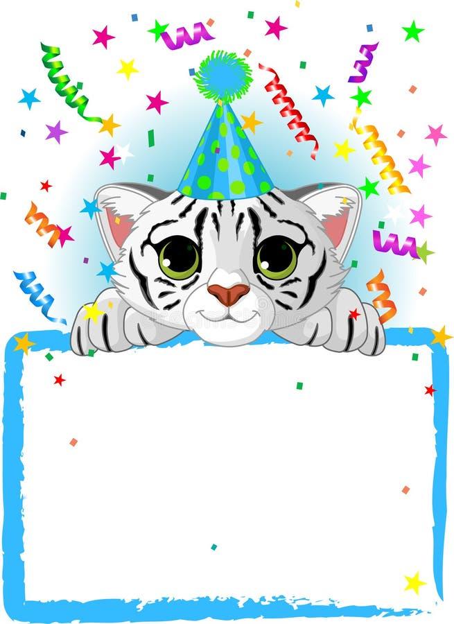Baby White Tiger Birthday stock illustration