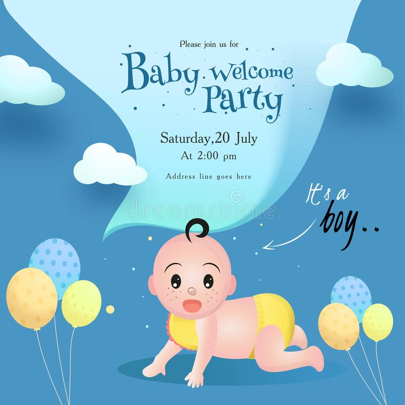 Baby-Willkommens-Parteieinladungs-Kartenentwurf mit nettem kleinem Jungen, Ballonen und Ereignisdetails vektor abbildung