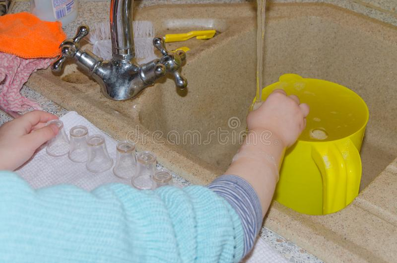 Baby wipes small cups after washing royalty free stock image