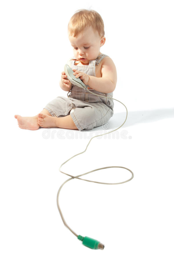 Free Baby With Computer Mouse Royalty Free Stock Images - 13324639