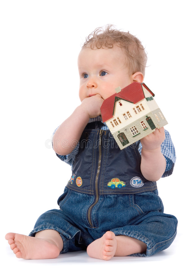 Free Baby With House Model Stock Image - 4966921