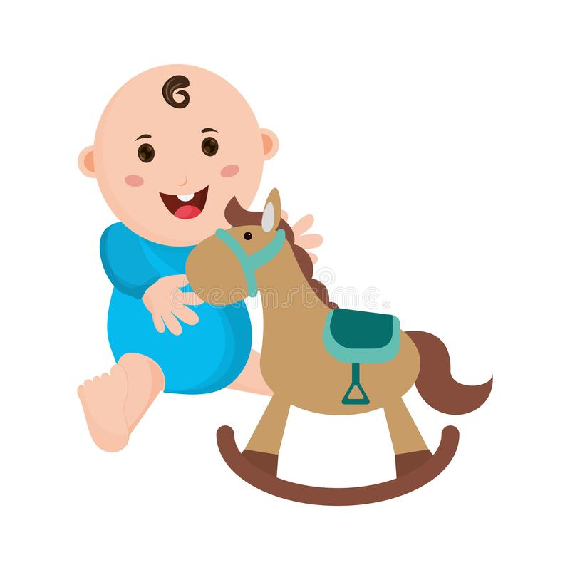 Baby with wooden horse cartoon. Vector illustration graphic design stock illustration