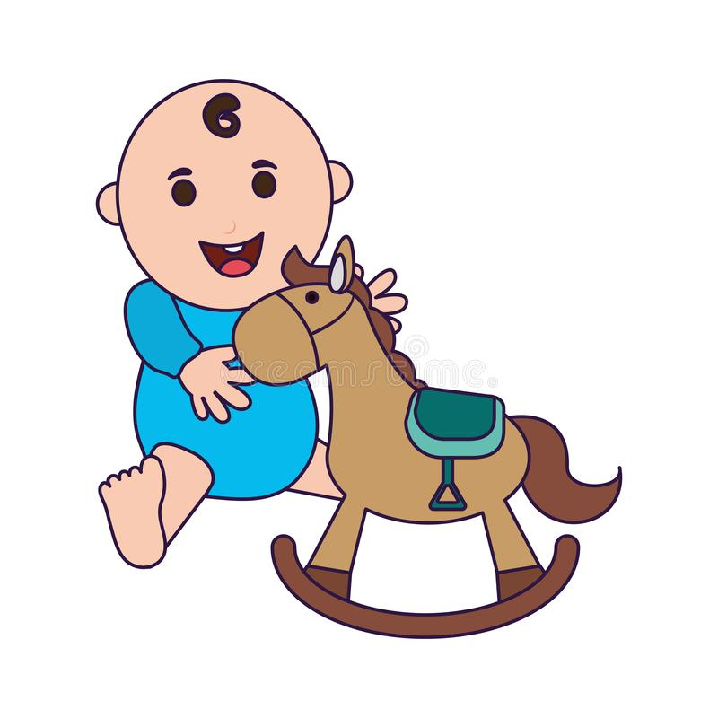 Baby with wooden horse cartoon. Vector illustration graphic design royalty free illustration