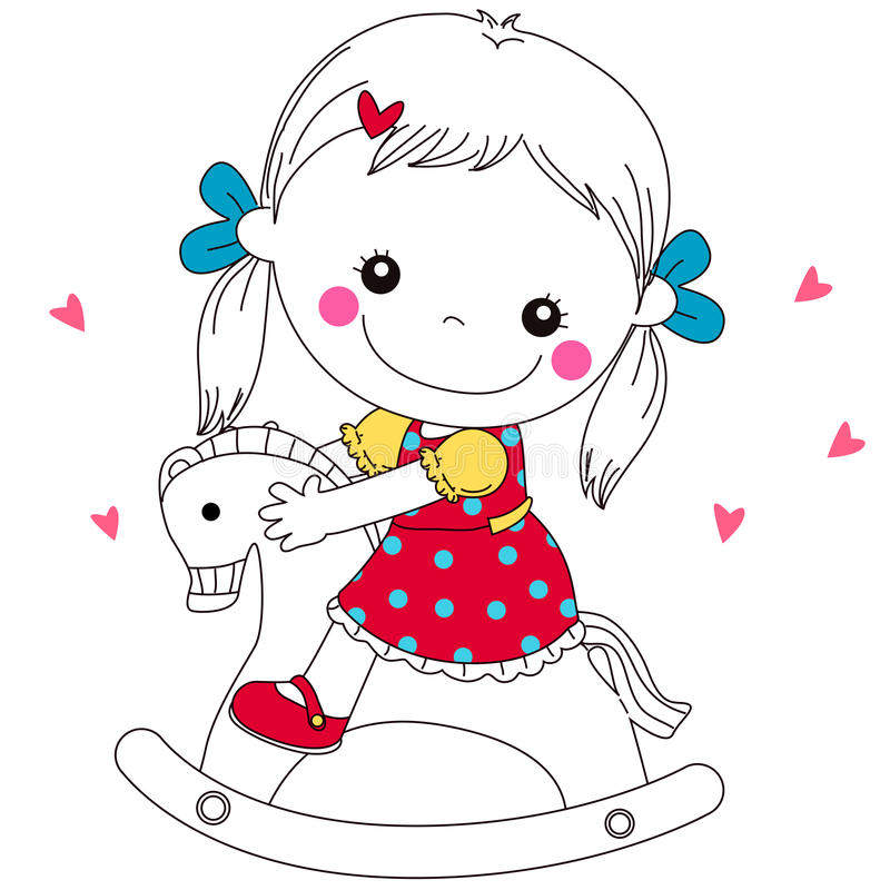 Baby on wooden horse. Illustration of a cute baby on wooden horse royalty free illustration