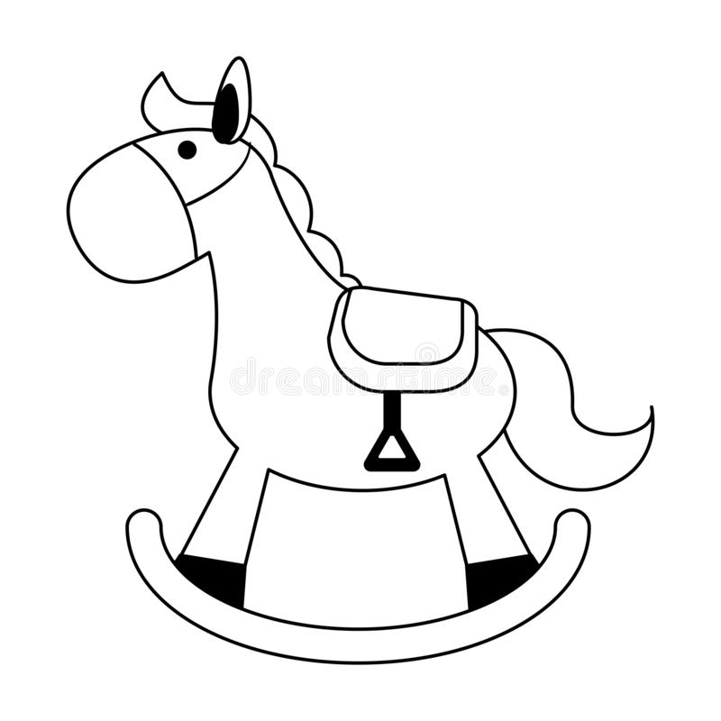 Baby wooden horse toy black and white. Baby wooden horse toy vector illustration graphic design royalty free illustration
