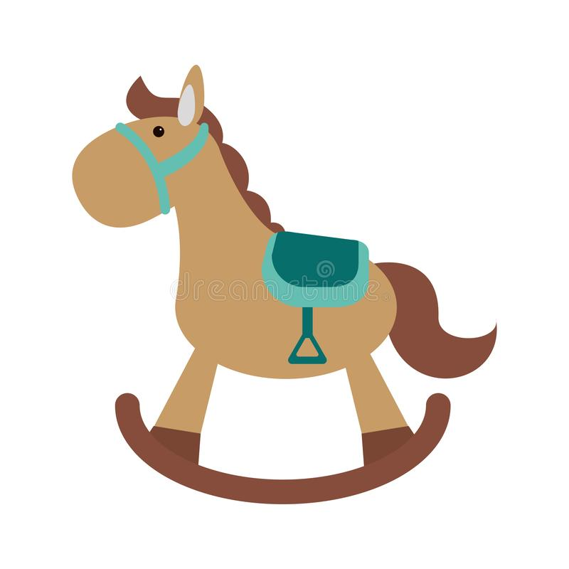 Baby wooden horse toy. Vector illustration graphic design royalty free illustration